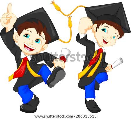Happy graduates - stock vector