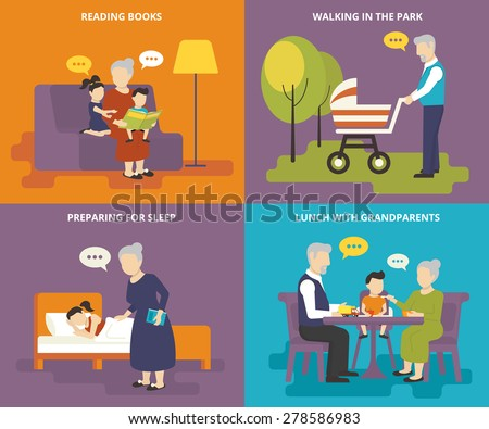 Happy grandparents are playing with children. Family with concept flat icons set of reading books, preparing for sleep, having lunch and walking - stock vector