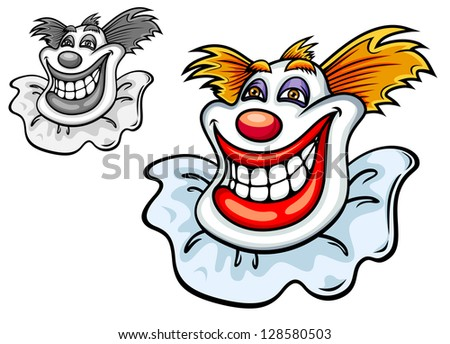 Happy grinning clowns face with a big toothy smile, a red nose and tufts of hair in colour and black and white variations, vector cartoon illustration. Jpeg version also available in gallery - stock vector
