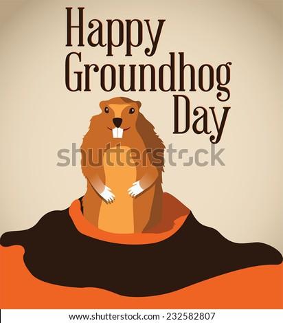 Happy Groundhog Day - stock vector