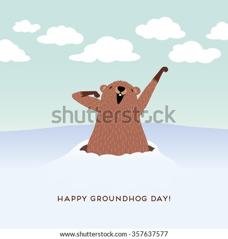 Happy Groundhog Day design with cute groundhog - stock vector