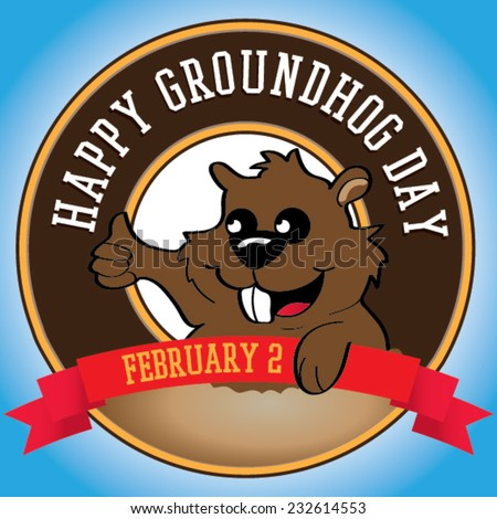 Happy groundhog day. Vector label background for text. - stock vector