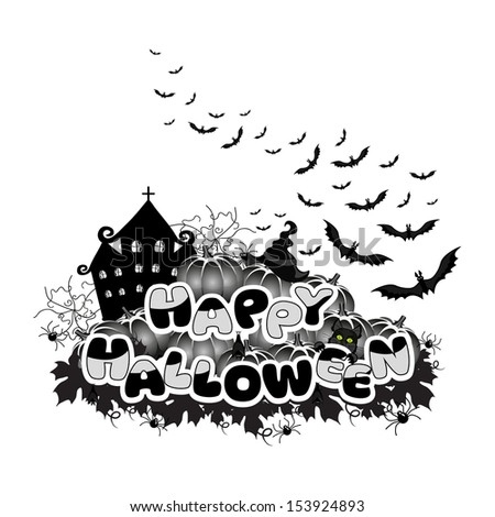 Happy Halloween abstract inscription  vector - stock vector