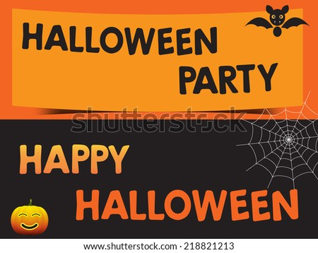 Happy Halloween and Party with bats pumpkin and web Poster, EPS10 Vector illustration. - stock vector