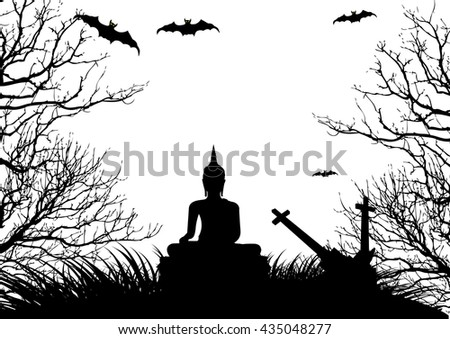 Happy Halloween background, black and white style. - stock vector