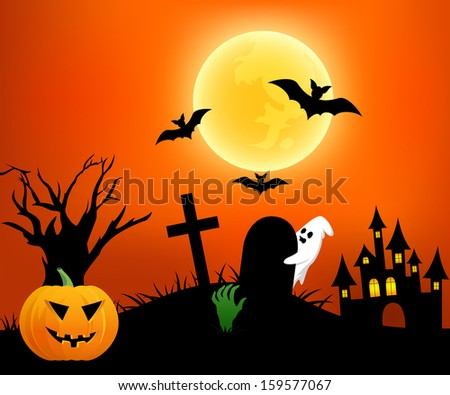 Happy Halloween Background. Poster with Pumpkin, Zombie Party, Ghost, Graveyard, Castle and Moon in the Back. Vector illustration - stock vector