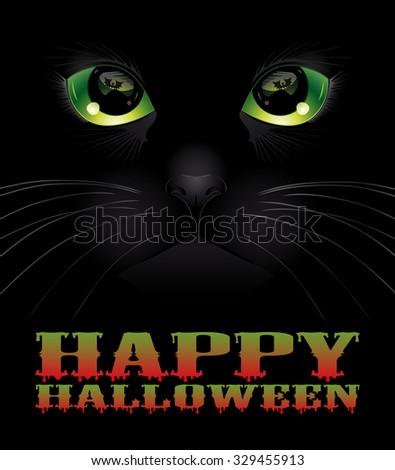 Happy Halloween background with black cat. Halloween concept. Vector illustration. - stock vector