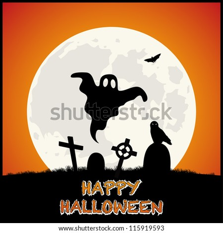 Happy Halloween Background with Cemetery on Orange Background. Vector - stock vector