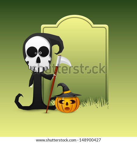 Happy Halloween background with classic character of ghost and pumpkin wearing witch hat with space for your message.  - stock vector