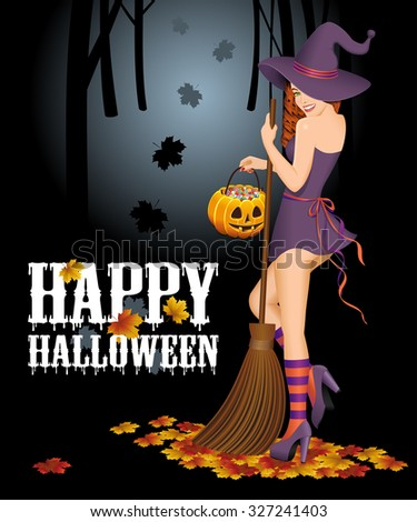 Happy Halloween background with witch with broom. Halloween concept. Vector illustration. - stock vector