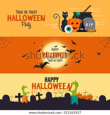 Happy halloween banners. Set of flat designed elements. Vector Illustration - stock vector