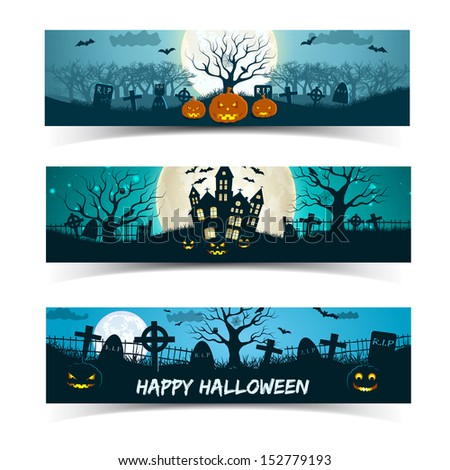 Happy Halloween banners set. Vector Illustration, eps10, contains transparencies. - stock vector