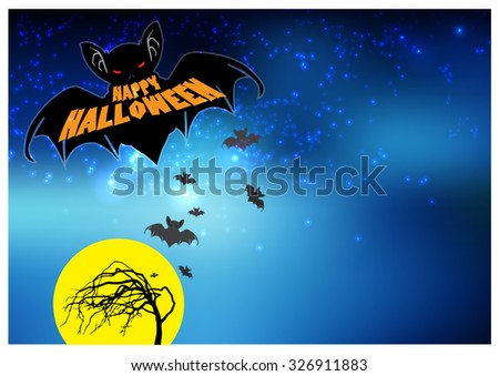 Happy Halloween Bat Flying Illustration - stock vector