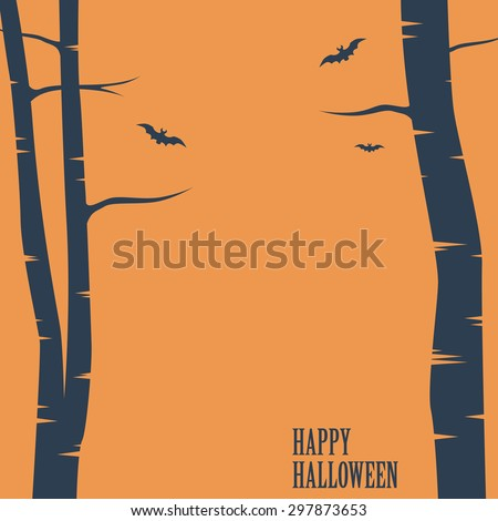Happy halloween card. Birch trees and bats silhouettes. Simple holiday greeting or party invitation. Space for text. Eps10 vector illustration. - stock vector
