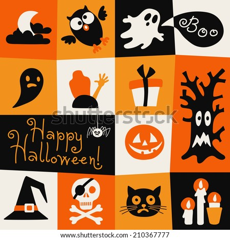 Happy Halloween card. Symbols in a flat style. Vector illustration. - stock vector
