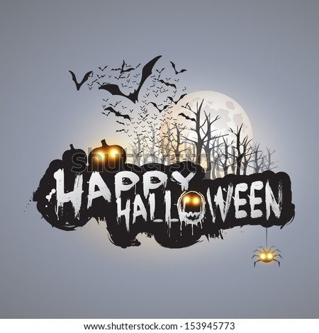 Happy Halloween Card Template - Flying Bats Over the Autumn Woods and Various Spooky Creatures with Glowing Eyes - Vector Illustration - stock vector