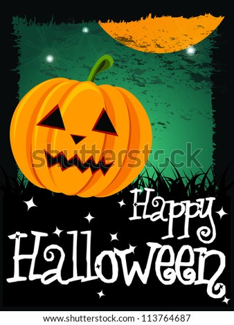 Happy Halloween card with pumpkin and message, vector - stock vector