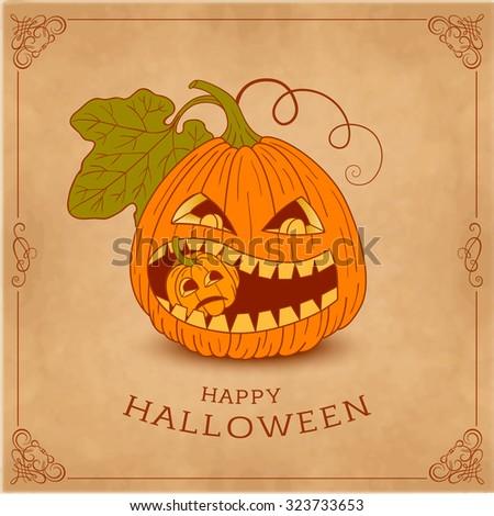 Happy Halloween card with pumpkin. Vintage style.  - stock vector