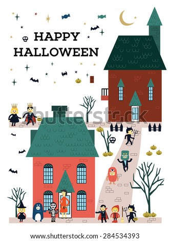 Happy Halloween.Children go to Going Trick Or Treating With Friends.  - stock vector
