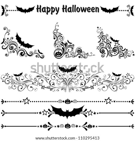 Happy Halloween! Collection of design elements isolated on White background. Vector illustration - stock vector