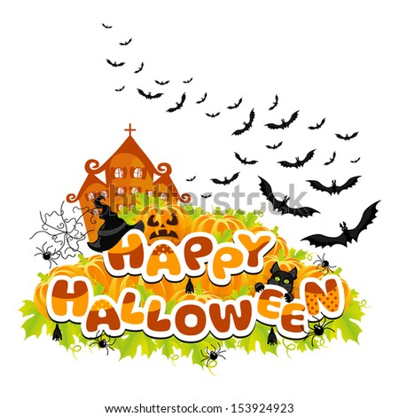 Happy Halloween colored abstract inscription vector - stock vector