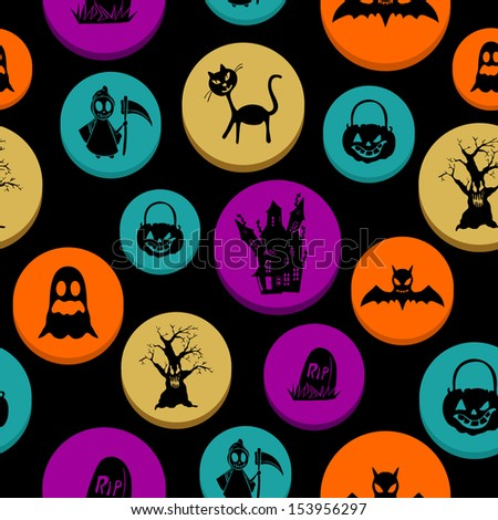 Happy Halloween colorful elements seamless pattern background. EPS10 Vector file organized in layers for easy editing. - stock vector