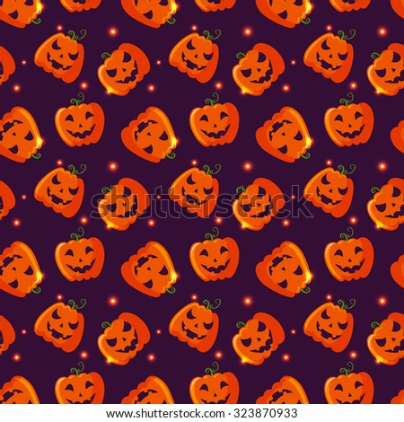 Happy Halloween! Colorful seamless pattern with pumpkins and sparkles. Vector background. - stock vector