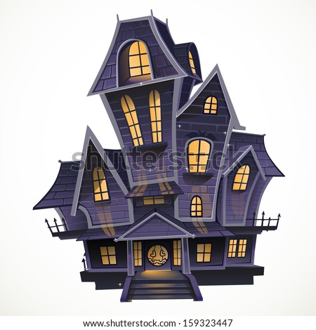 Happy Halloween cozy haunted house isolatd on a white background - stock vector