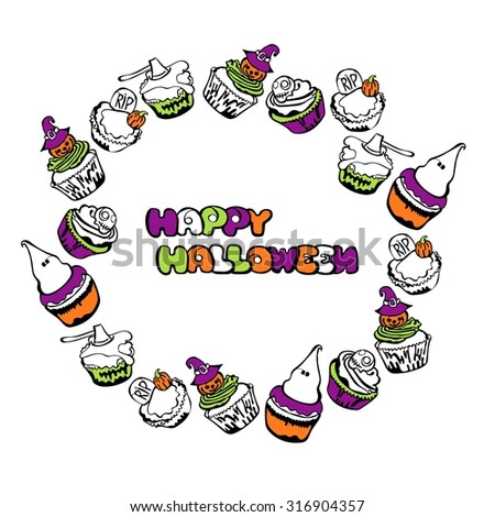 Happy Halloween. Cupcakes. Round frame - wreath. - stock vector