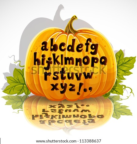 Happy Halloween cut out pumpkin small letters alphabet - stock vector