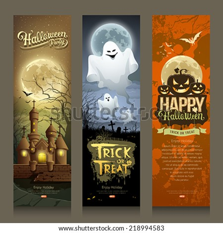 Happy Halloween day collections banner vertical design background, vector illustrations - stock vector