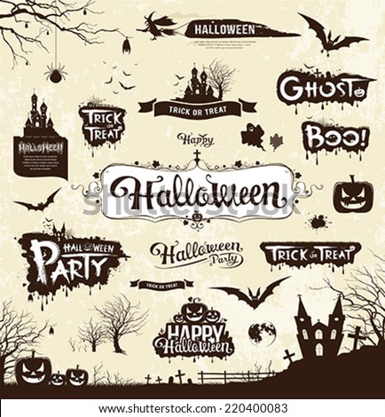Happy Halloween day silhouette collections design, vector illustration - stock vector