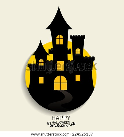 Happy Halloween design background, Cute note paper with Halloween background. Vector illustration. - stock vector