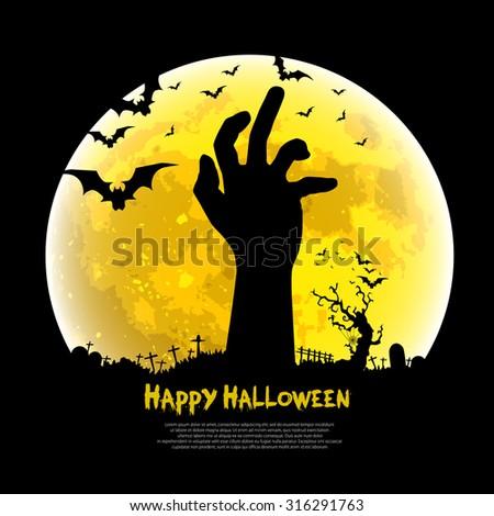 Happy Halloween design with zombie hand, bats, graves, moon, vector illustration background - stock vector