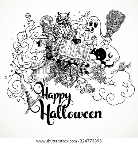 Happy Halloween doodles on a white background - stock vector