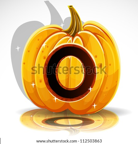 Happy Halloween font cut out pumpkin letter O - stock vector