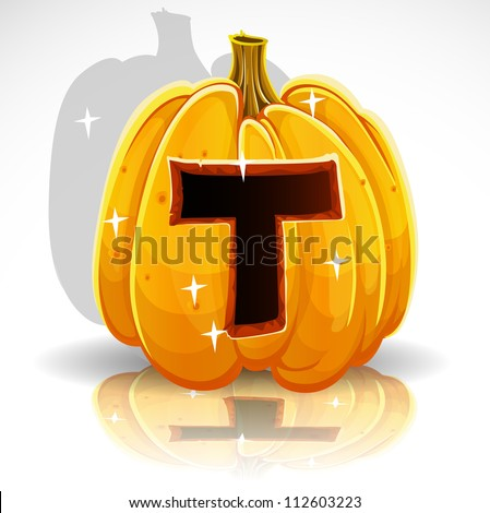 Happy Halloween font cut out pumpkin letter T - stock vector