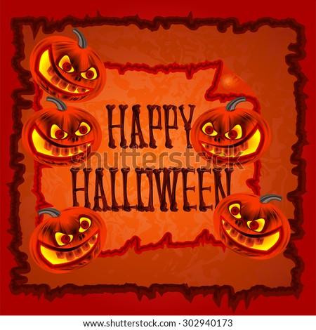 Happy Halloween frame with pumpkins orange background vector illustration - stock vector