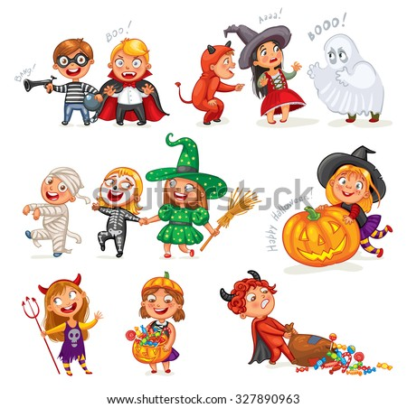 Happy Halloween. Funny little children in colorful costumes. Robber, ghost, mummy, skeleton, witch, vampire, devil. Cartoon character. Vector illustration. Isolated on white background - stock vector