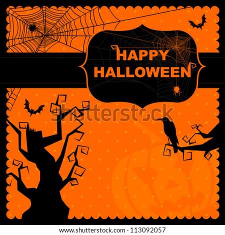 Happy Halloween greeting card - stock vector