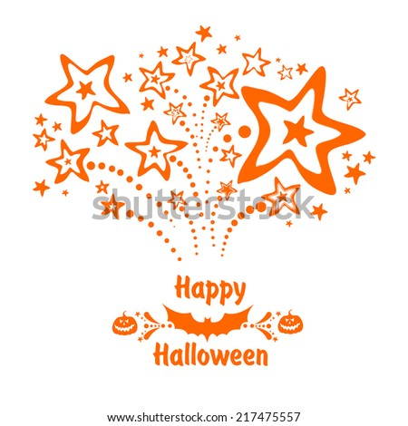 Happy Halloween! Greeting card.Celebration background with firework, bats, pumpkin and place for your text. Vector Illustration - stock vector