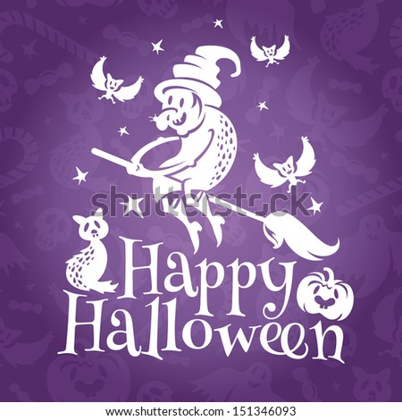 Happy Halloween greeting vector card with old ugly witch - stock vector