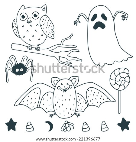 Happy Halloween Illustrations: Ghost, owl, star, marshmallow, spider, bat, moon, lollipop. - stock vector