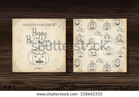 Happy Halloween invitation card template, Hand drawn vector typography poster, Holiday party handwritten invitation, hand lettered calligraphic design with pumpkins on wood texture, Halloween sketch - stock vector