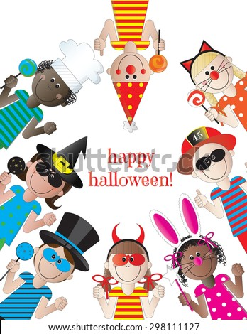 Happy Halloween Kids on White Background - stock vector