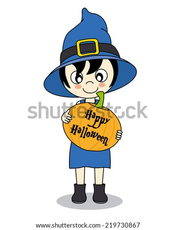 happy halloween. Little girl dressed as a witch with a pumpkin - stock vector