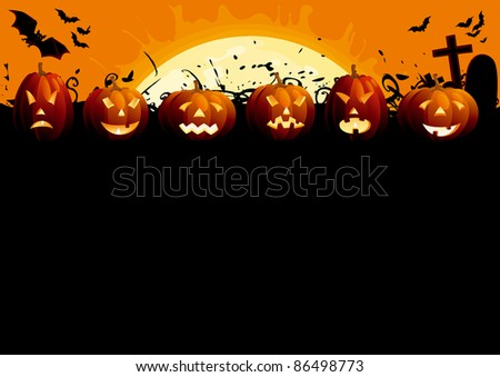 Happy Halloween. Many glowing halloween pumpkins, tree, grave stone and many flying  bats on  abstract background with big moon. - stock vector