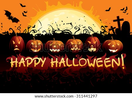 "Happy Halloween! Many glowing halloween pumpkins, tree, grave stone, many flying  bats and text ""Happy Halloween""on  abstract background with big moon. - stock vector"