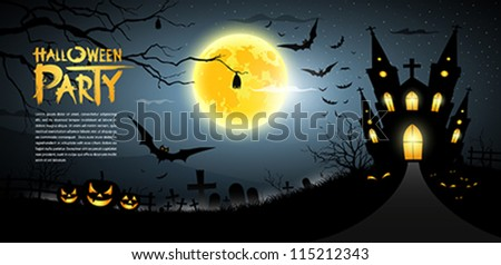 Happy Halloween party scary background, vector illustration - stock vector