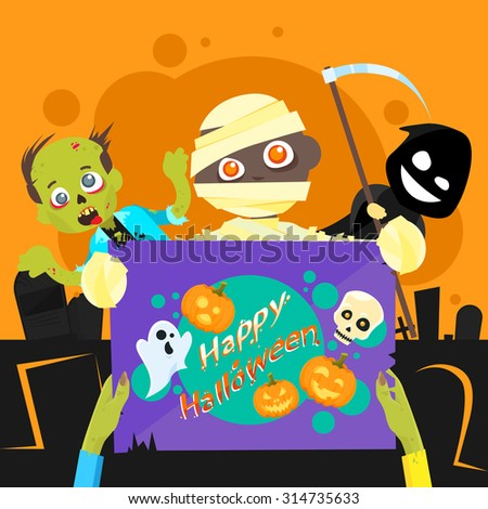 Happy Halloween Party Zombie Night Poster Invitation Banner Card Flat Vector Illustration - stock vector